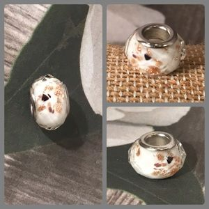 Jewelry - Sterling Silver 925 White Gold Glass Bead Pandora
